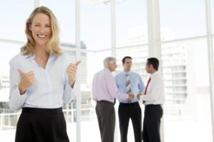 Business women smiling assisting with bad credit business loans